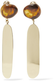 Mineral Oval gold-filled resin earrings