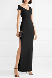 Solace London Mille asymmetric stretch-crepe gown