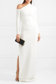 Liva asymmetric stretch-crepe gown