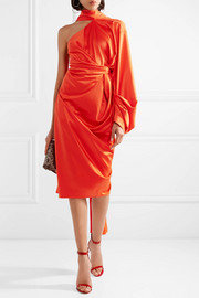 Solace London Sorina draped asymmetric satin-crepe dress