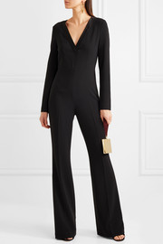 Satin-trimmed crepe jumpsuit