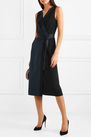 Alexander two-tone crepe and satin wrap midi dress