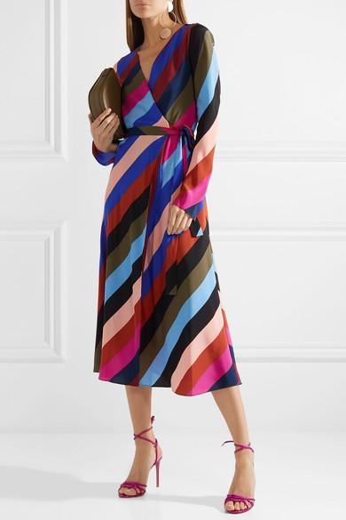 Diane von Furstenberg Gestreiftes Seidenkleid aus Crêpe de Chine in Wickeloptik