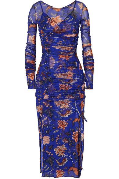 Diane von Furstenberg Canton bedrucktes Kleid aus Satin und Mesh mit Raffung