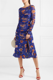 Canton ruched printed mesh and satin dress