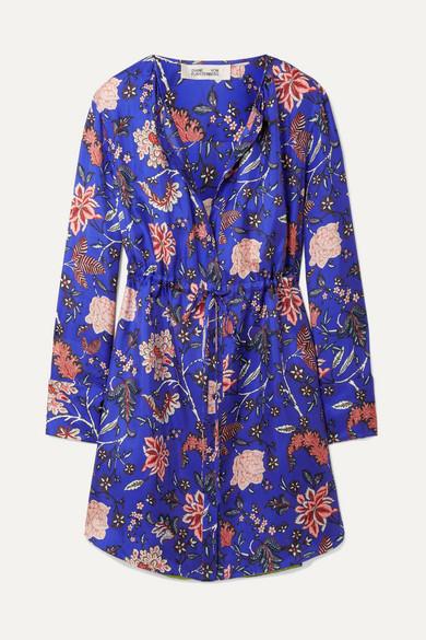 Diane von Furstenberg - Printed Silk-twill Mini Dress - Bright blue