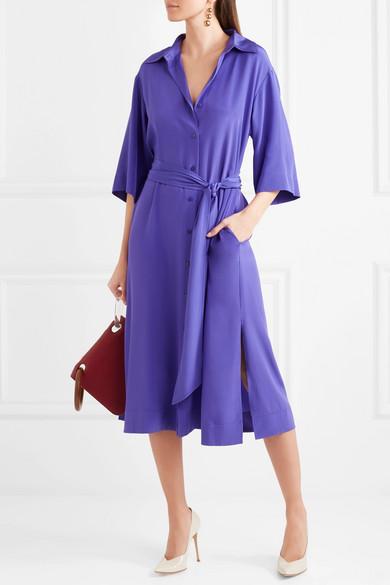Diane von Furstenberg Hemdblusenkleid aus Crêpe de Chine aus Seide mit Gürtel