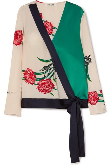 Diane von Furstenberg - Printed Silk-satin Wrap Blouse - Ivory