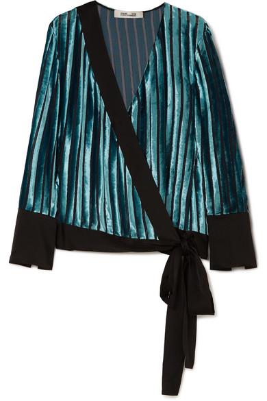 Diane von Furstenberg - Satin-trimmed Devoré-velvet Wrap Blouse - Blue