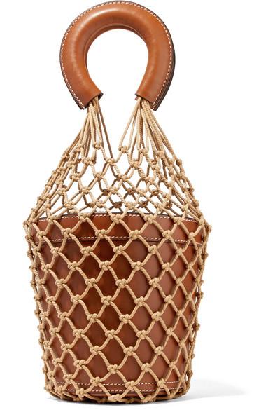 c87b02222 STAUD | Moreau macramé and leather bucket bag | NET-A-PORTER.COM