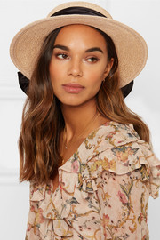 Brigitte satin-trimmed straw boater
