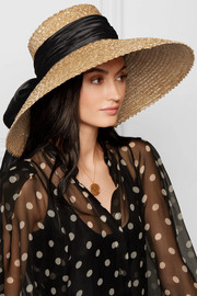 Mirabel satin-trimmed straw hat