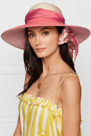 Honey satin faille-trimmed hemp sunhat