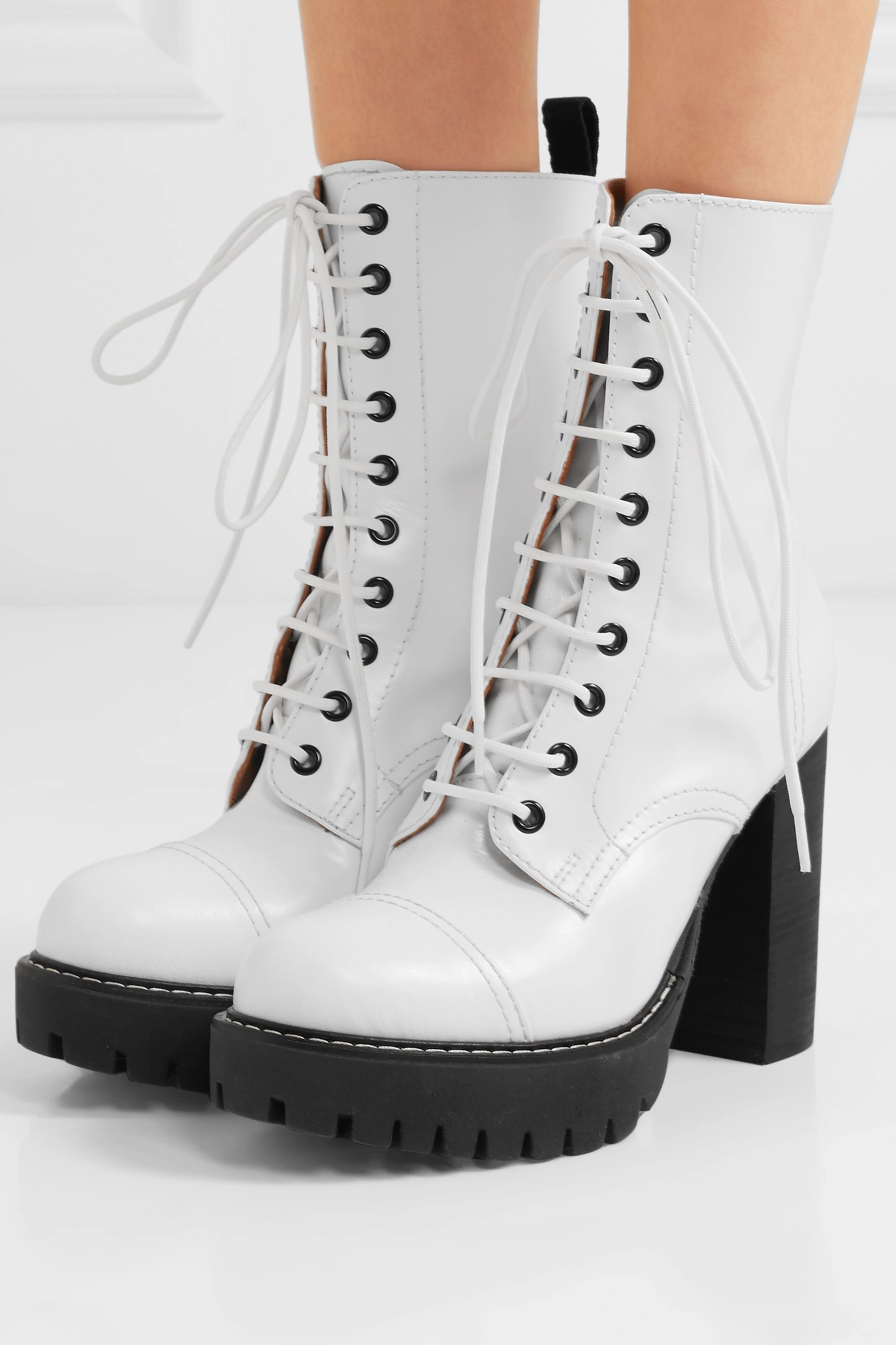 ALEXACHUNG Lace-up leather ankle boots