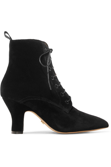 ALEXACHUNG - Lace-up Velvet Ankle Boots - Black