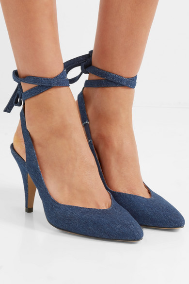 ALEXACHUNG Slingback-Pumps aus Denim