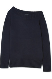One-shoulder wool and cashmere-blend sweater