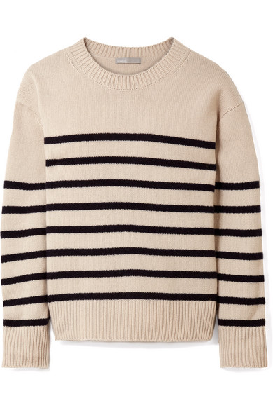 Vince - Tie-detailed Striped Cashmere Sweater - Cream