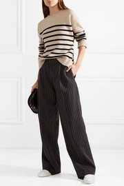 Tie-detailed striped cashmere sweater