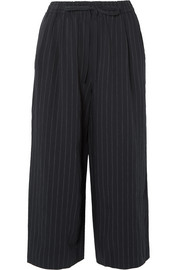 Cropped pinstriped twill wide-leg pants