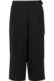 Belted satin-crepe culottes