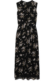 Vince Asymmetric floral-print silk dress