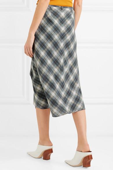 0ee9e0a4f32afc Vince | Shadow wrap-effect plaid silk midi skirt | NET-A-PORTER.COM