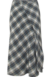 Vince Shadow wrap-effect plaid silk midi skirt