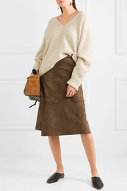 Wrap-effect suede midi skirt