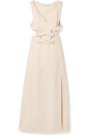 Cutout lace-up crepe midi dress