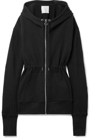 Cotton-terry hooded top