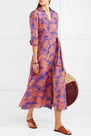 Printed cotton and silk-blend wrap midi dress
