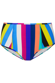 Striped high-rise bikini briefs