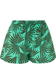 Printed cotton-blend shorts