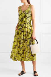 Printed cotton and silk-blend voile midi dress