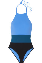 Color-block halterneck swimsuit