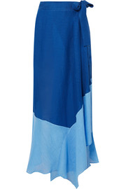 Two-tone linen-blend voile wrap maxi skirt