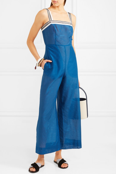 Diane von Furstenberg Jumpsuit aus einer Baumwoll-Seidenmischung mit Streifen und Ripsbandbesatz