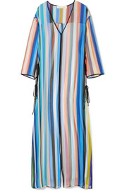 Striped silk-chiffon tunic
