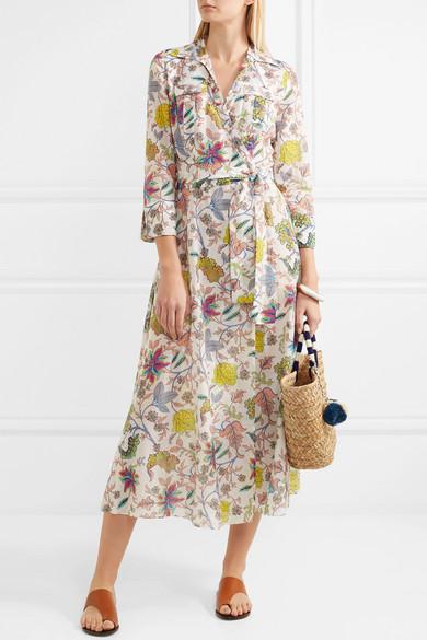 Diane von Furstenberg Bedrucktes Wickelkleid aus einer Baumwoll-Seidenmischung in Midilänge