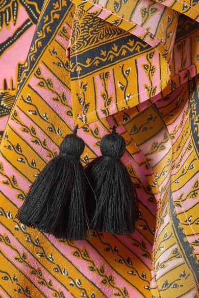 Figue Eliza Kaftan aus bedrucktem Crêpe de Chine aus Seide mit Troddeln