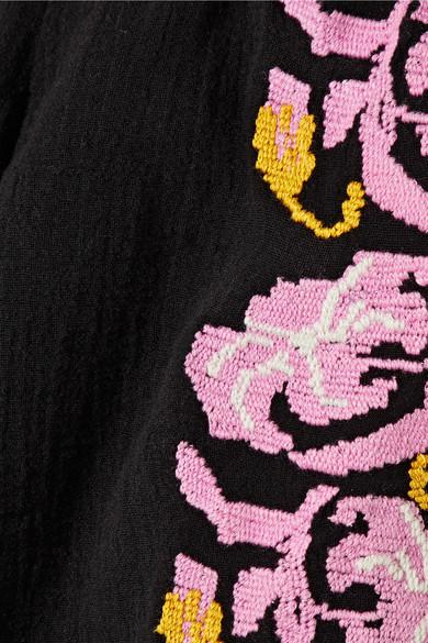 Figue Noelle schulterfreies Maxikleid aus Baumwoll-Gaze mit Häkelbesätzen und Stickereien