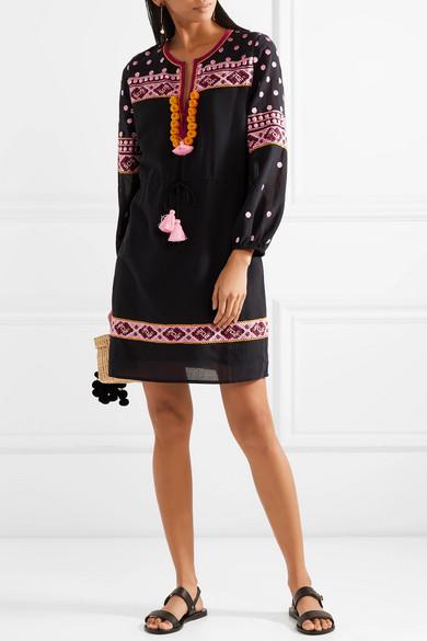 Figue Savannah Minikleid aus besticktem Voile aus einer Baumwollmischung mit Troddeln