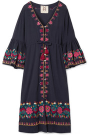 Figue Junie embroidered cotton-voile midi dress