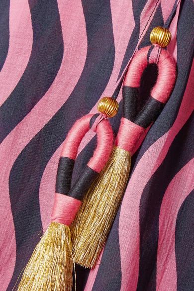 Figue Amrita bedruckter Kaftan aus Gaze aus einer Baumwollmischung mit Troddeln