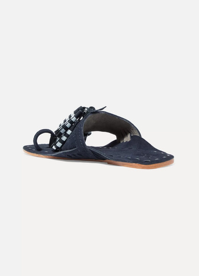 Scaramouche Tasseled Leather And Suede Sandals - Navy Figue M1li9bLti