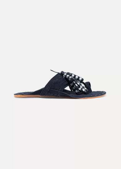 Figue - Scaramouche Tasseled Leather And Suede Sandals - Navy