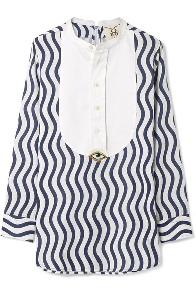 Figue - Embellished Striped Cotton-gauze Top - Navy