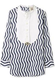River embellished striped cotton-gauze top