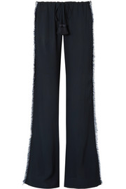 Simone fringed crepe wide-leg pants